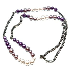 GIVENCHY~faux-pearl & gunmetal~ROPE NECKLACE